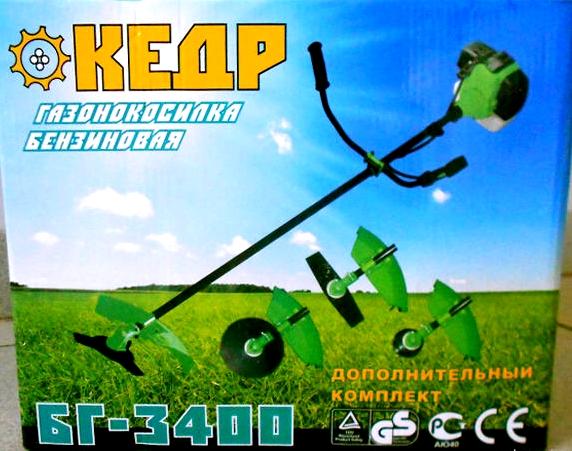 Бензокоса Кедр БГ-3400 (3ножа+1леска)